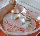 リングピロークリアガラスリングホルダー2本組(ハートプレートにメッセージ彫刻付)白い化粧箱入り【RCP】