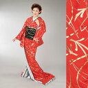 【裾引】仕立て上がり朱赤地 金箔 松葉柄舞踊 舞台 衣装 ステージ)着物(きもの)