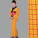 【踊り小紋】【洗える着物】黄色地格子 黄八丈柄【反物】「きぬずれ」