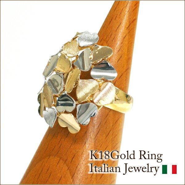 【ORO ETERNO】イタリアンジュエリー 18金リング イエローゴールド×ホワイトゴールド コンビゴールド 指輪 Cuore(クオーレ)(RRC0768)