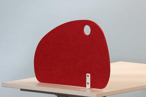 PB-H フェルトサイドスクリーン ラウンド型[レッド][据え置きタイプ]【[W600×D140×H410mm]【お客様組立】各種デスク・テーブル向けの間仕切り,デスクトップパネル,パーティション,ブラインド,衝立,スクリーン