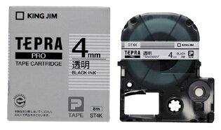 キングジム テプラPROテープカートリッジ 透明ラベル ST4K 【RCP】