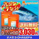 BIGオメガ3-DHA&EPA&α-リノレン酸サプリ(2個セット・約1年分)◆1年分◆ 送料無料 DHA EPA 亜麻仁油 ドコサヘキサエン酸 ビタミン 青魚 大容量 福袋