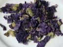 美しいブルーのお茶。のどの調子を整えます。青色から紫色へ色の変化が楽しめる『夜明けのハーブ』ハーブ&バラ園のハーブティー ウスベニアオイ 50g