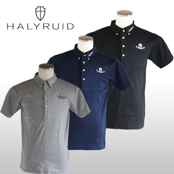 ハリールイド(HALYRUID) ロゴワッペン ボタンダウン半袖ポロシャツ メンズ 【ゴルフウェア ゴルフシャツ 半袖  ポロ シャツ 通販 男性】ほそい