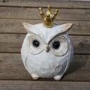 ふくろう 置物 Mサイズ 縁起物 フクロウ バード 木製 白 動物 ウッド