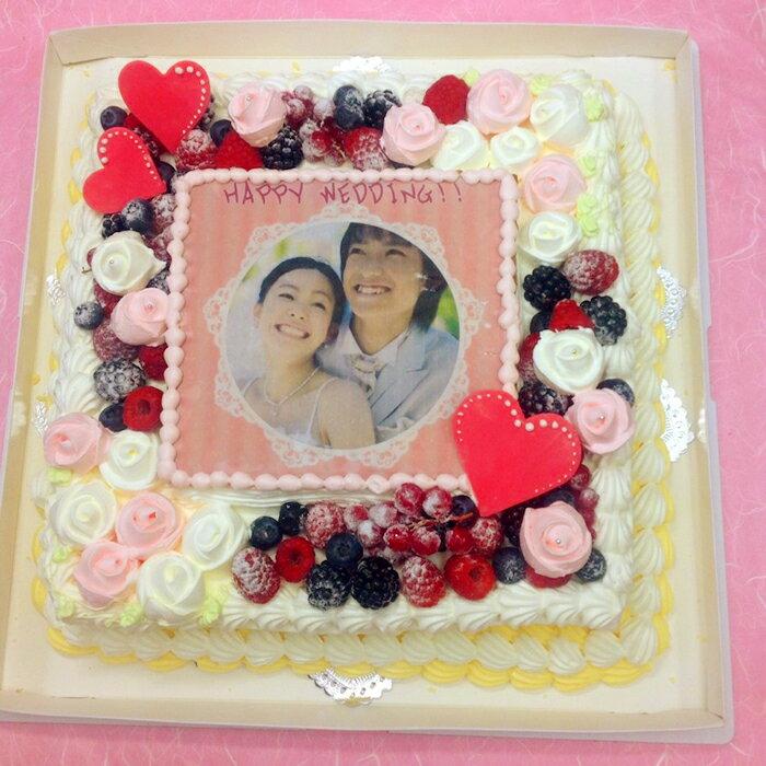 パーティーケーキ 写真ケーキ 大きいケーキ バースデーケーキ お誕生日 パーティー 記念日 サプライズ 生クリーム 12号