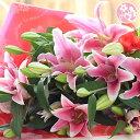 父の日 花 誕生日 結婚祝い お礼 歓送迎 大輪系ピンクユリとグリーンの花束25輪 送別 退職 誕生