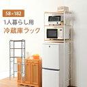 ◆IRON 冷蔵庫ラック KCC-3050WH/BR【送料無料】【大川家具】【HGAC】【smtb-MS】