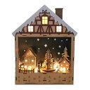 ショッピングオルゴール LEDウッドファンタジークリスマスオルゴールハウス【クリスマスオルゴール/クリスマス置物/きよしこの夜/E1】