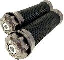 輝くバーエンド カスタム グリップ 汎用 22mm用 ラバー アルミ バイク シルバー ガンメタル(シルバー ガンメタル)