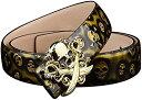 スカル 剣 海賊旗 留め具 艶 牛革 レザー メンズ ベルト エンボス ドクロ 柄 留め具:ゴールド/ベルト:ゴールド(留め具:ゴールド/ベルト:ゴールド, フリー)