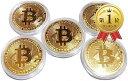 ビットコイン レプリカ Bitcoin replica 金運グッズ 金5枚セット(ビットコイン(金)5枚セット)