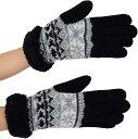 ショッピングノルディック ELLE ふわふわ モコモコ インナー ノルディック 柄 ウール 2重 手袋 ケース付(ブラック, フリー)