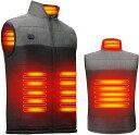 ショッピング充電式 2021進化版電熱ベスト加熱ベストヒートジャケット超軽量 前後独立温度設定可能 USB充電式 3段温度調整 男女兼用(グレー/ブラック, XL)
