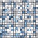 モザイクタイルシール防水 耐熱メタルタイルシール キッチン 洗面所 DIY 壁シールスクエア 5枚 MDM(ブルーBlue)