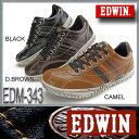 EDWIN エドウィン メンズスニーカー ローカット カジュアル ユーズド加工【EDM-343】