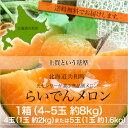 【送料無料】北海道らいでんメロン(赤肉)約8kg【4玉(1玉...