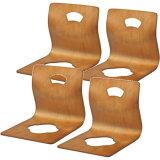 【】お買得価格曲げ木の木製座イス4脚組・ブラウン(1脚あたり1840)