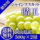 岡山県産 シャインマスカット 晴王 赤秀品 2房500g×2...