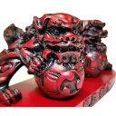 【 シーサー 置物 】【送料無料】伝統のデザイン 玉乗りシーサー ( 赤 ) ギフト 沖縄 お土産