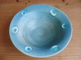 大切な方へ、おしゃれでかわいい陶器と琉球ガラスの皿【ターコイズ色7】