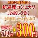 【新米】【お試し】新潟産コシヒカリ3合パック〔23年産〕【送料無料:メール便指定】新潟から産地直送でお届けいたします♪