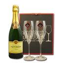 テタンジェのプレミアム・シャンパーニュとリーデルのペアグラスのセット。結婚祝い・結婚記念日などのお祝いに!