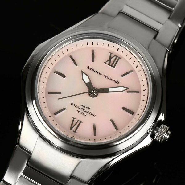 Mauro Jerardi マウロジェラルディ チタンソーラー レディース腕時計 /ピンク MJ040-2 電池交換不要のソーラーで軽量チタン。つけているのを忘れそうな着用感!