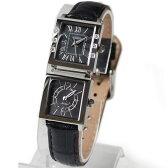 [オレオール]AUREOLE デュアルタイム レディース腕時計 SW-570L-1 ブラック文字盤/ベルトカラー:ブラック
