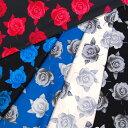 【生地 布】綿100%のローズ柄のブロード生地!50cm以上で10cm単位でカット売り!【ばら花柄 プリント 国産 綿100% 日本製 小物入れ、バッグなどの袋物】【メール便対応】