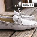 正規品 ボエモス メンズ スリッポン 靴 オフホワイト BOEMOS ドライビングシューズ VIVEL OFFWHITE 1376 スエード 【made in ITALY】