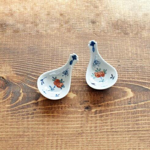 萌窯 れんげ 色絵桃 豆皿 箸置き