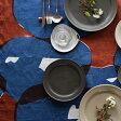 ●蔦の葉 型染フリークロス 青・黄●ヤマザキナホコ 布製品 手染め タペストリー テーブルクロス 北欧