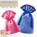ラッピング お子さんやお孫さんへのプレゼントに 不織布 バッグ 選べる ブルー ピンク ギフト クリスマス 子供の日 お誕生日 リボン 贈り物 包装 記念日 お祝い gift カジュアル