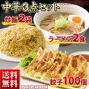 送料無料 中華3点セット 絶品餃子100個/炒飯2袋/ラーメン2食の人気の浪速の中華セット ギフト 贈り物