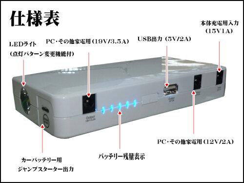 【即納】【送料無料】最高クラス18000mAhPC&モバイルバッテリー&モバイルジャンプスターターiPhone6対応!コンパクト設計高出力5000ccクラスも可能!!