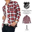シャツ シワ加工キレイめシルエットネルチェックシャツ(GN-1391050)メンズ トップス ライトアウター シャツ ネルシャツ チェックシャツ 赤 レッド 刺繍 アメカジ ストリート カジュアル サンタリート