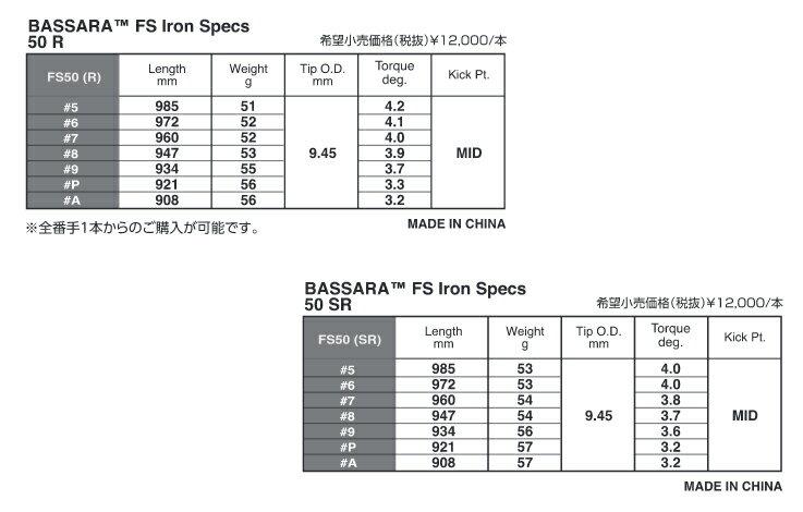三菱レイヨン BASSARA FS Iron/リシャフト工賃込