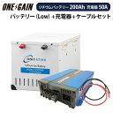 オンリースタイル リチウムイオンバッテリー 12v + 高性能急速充電器 セット2500Wh(200Ah) LOW-version SimpleBMS内蔵WB-LYP200AHA12SB -LOW + CX1250ors200lv-cx1250代引き不可 防災