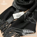 【送料無料】Vivienne Westwood ヴィヴィアンウエストウッド ヴィヴィアン マフラー レディース メンズ ロゴ入り ストール ツートンカラー ブラック×グレー