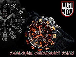 Luminox men's Chronograph Watch black orange rubber 3089