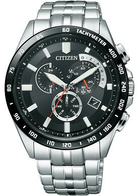 Citizen collection mens watch eco-drive radio watch chronograph black AT3004-58E