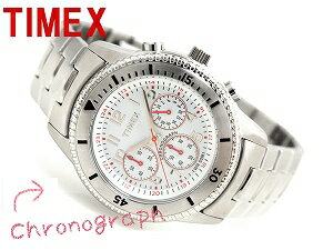 Timex men chronograph watch white dial stainless steel belt T2N160