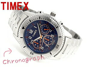Timex men chronograph watch blue check dial stainless steel belt T2N161
