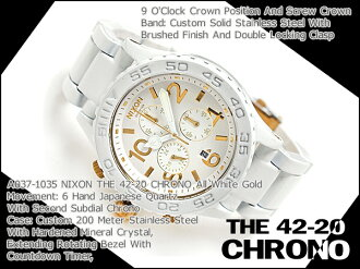 Nixon mens Watch THE 42-20 CHRONO 42-20 Chrono-all white gold A0371035