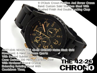 Nixon mens Watch THE 42-20 CHRONO 42-20 Chrono Matt Black Gold A0371041