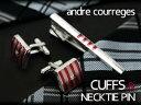 【andre courreges】アンドレ・クレージュ ネクタイピン&カフスセット レッド×ピンク ボーダー CT4001B-CC6001B【ネコポス不可】