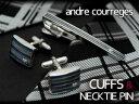 【andre courreges】アンドレ・クレージュ ネクタイピン&カフスセット ブルー×シルバー ボーダー CT4003A-CC6003A【ネコポス不可】
