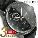 【日本製 逆輸入 SEIKO】セイコー 自動巻き 手巻き付き機械式 メンズ 腕時計 ブラックダイアル ブラック ナイロン×レザーベルト SSA383J1【あす楽】